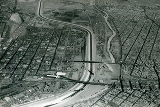 An aerial view, looking east, spring of 1969, shows the extent of the work after IB&WC completion.
